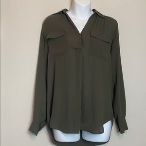 Ann Taylor Factory Green Long Sleeve Blouse